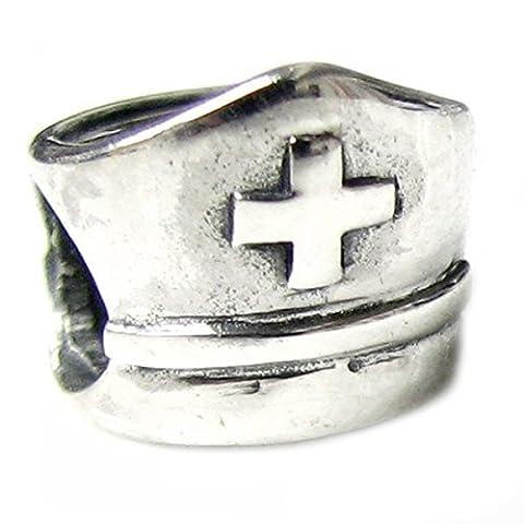 Queenberry Pendentif en argent sterling en forme de bonnet d'infirmière avec croix pour bracelets de (Croce Cap Hat)