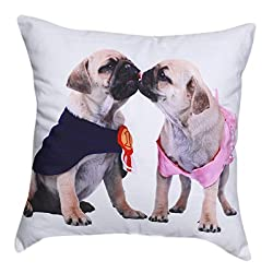 """Beautiful Two Pug Dogs with Navy Blue & Pink Dress Print Cotton 18"""" X 18"""" Cushion Cover Pillow for Sofa Bed"""