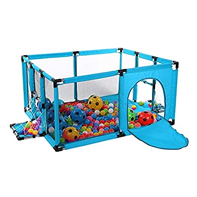 Playpen Toddler Play Yard Indoor Activity Centre, Kids Safety Playground Fence with Football Frame and Door (color : Blue, Size : 120x100x62cm)
