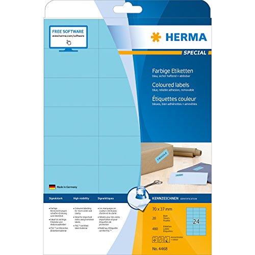 Herma 4468 Farbetiketten ablösbar (70 x 37 mm auf DIN A4 Papier matt) 480 Stück auf 20 Blatt, blau, bedruckbar, selbstklebend