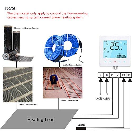 Anself WIFI Intelligenter Raumthermostat Elektroheizung Programmierbarer Temperaturregler mit LCD Touchscreen - 2