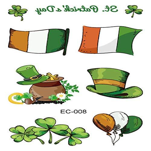 adgkitb Umweltfreundlicher wasserdichter St. Patrick's Day Kinder Klee Tattoo Aufkleber EC-008 12x7.5cm