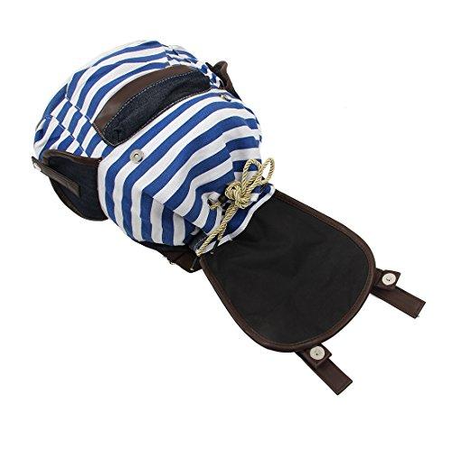 schwarzer Frauen Beutel R Rucksack Schule Segeltuch Beutel SODIAL Spielraum Rucksack Buch Streifen blau Schultasche Streifen Maedchen gestreiftes 0Uq5qwO