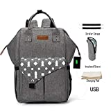 Diaper Backpack,Baby Nappy Changing Bag Backpack-Mummy Bag with USB Port Insulated Pockets,Waterproof Multi-Function