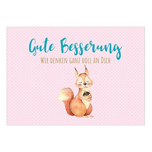 Große DIN A5 Postkarte mit Umschlag/Eichhörnchen auf rosa/Wünsche zur Genesung/Gute Besserung/Krank / Gesundheit/Krankenhaus