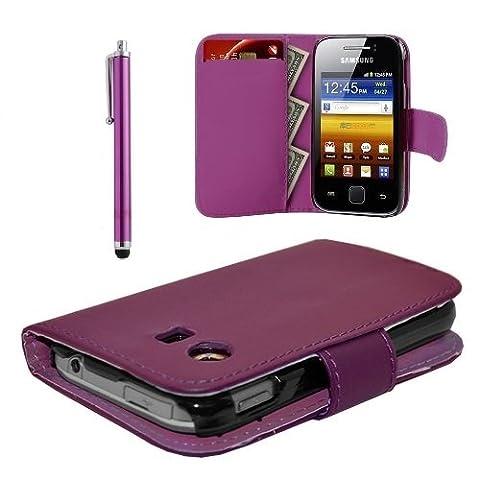 Lederklappetui für Samsung Galaxy Y GT-S 5360 Mini-Sim (mit Displayschutz und Eingabestift) violett