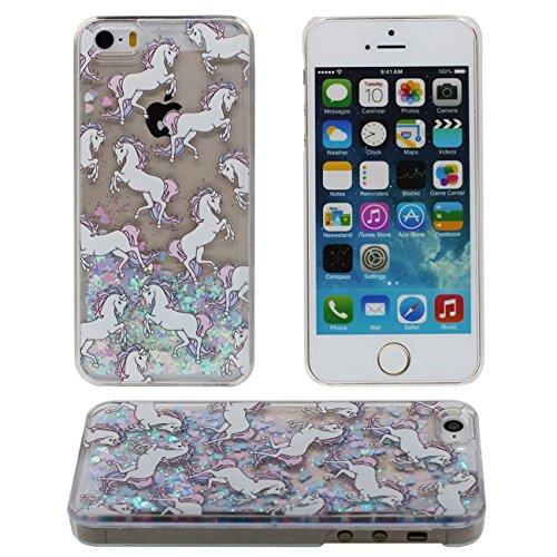 iPhone SE Coque, Joli Case cheval Blanc Motif Flowable Liquide Eau & Étoiles Transparent Dur PC Plastique Rigide Housse de protection Case pour Apple iPhone 5 5S SE coloré