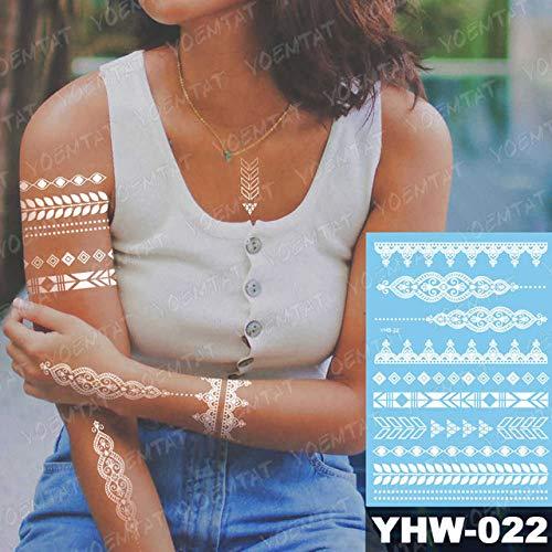 adgkitb 3 stücke Temporäre wasserdichte Tattoo Aufkleber Für Frauen Mandala Weiß Braut Hochzeit Armband Schmuck Spitze Tatoo Kunst 16-YHW-022 21X14,8 cm