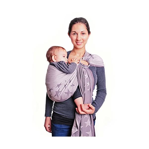 Hoppediz Ring Sling (Jacquard Los Angeles Grey) Hoppediz Suitable from birth until parent or child chooses to stop carrying 100% Cotton Special broken twill weave 2