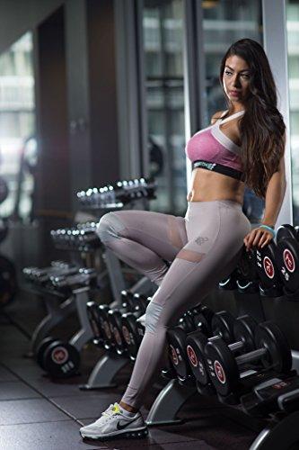 Legging pour femme Gym Yoga Entraînement Course à Pied Pantalon pour femme Silver