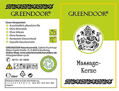 Greendoor BIO Massagekerze Golden SPA, 100 ml - BIO Sojawachs & BIO Babassuöl, natürliche Mischung entspannender ätherischer Öle - vegan, rußt nicht, ohne Tierversuche - beliebtes Geschenk, Massageöl Massage Öl - 4