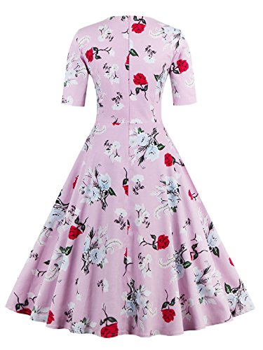 LUOUSE Vintage 50er 60er Retro Blumendruck Rockabilly Swing Kleid Floral-Rot