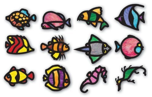 Stained Glass Fish (Tropical Fish Stained Glass Frames (Pack of 24) by Roylco)