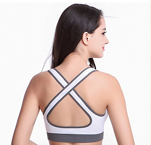 Fletion yoga femmes Seamless Soutien-gorge rembourr Loisirs Crossover Vest Yoga Sport Bras blanc