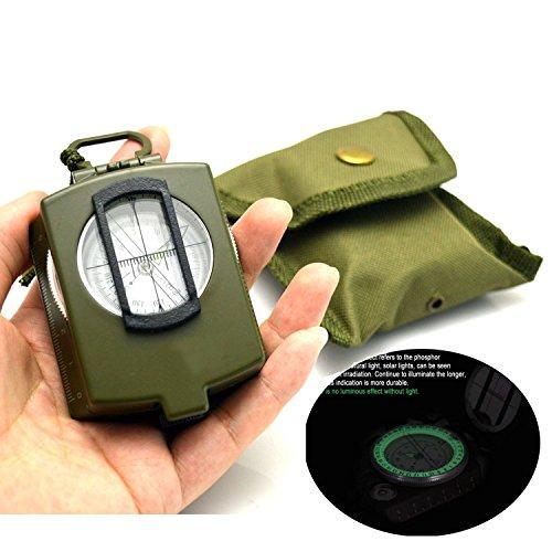 CAMTOA® Boussole lumineuse, imperméable, antisismique -design militaire, - idéal pour randonnée camping voyage etc.