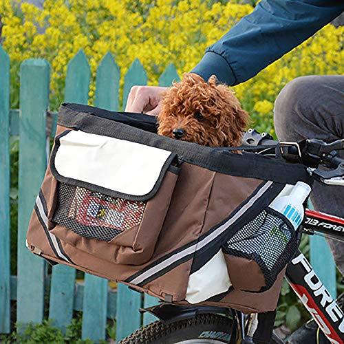 QNMM Cesta De Bicicleta para Mascotas Bolsa De Viaje Bolsa De Bicicleta para Perros Gato Cesta De Cesta Plegable para Bicicleta Desmontable Adecuado para Mascotas De Menos De 6 Kg Viajes Felices
