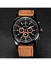 Relojes Hermosos, Correa de cuero de diseño de cuarzo reloj militar ocasional de los hombres v6 ( Color : Color Caqui , Talla : Una Talla )