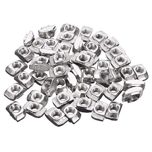 50 Stück M4-20 T-Nut Draht T-Slot Hammerkopf Drop in Mutter 50 Stück Silber Ton -