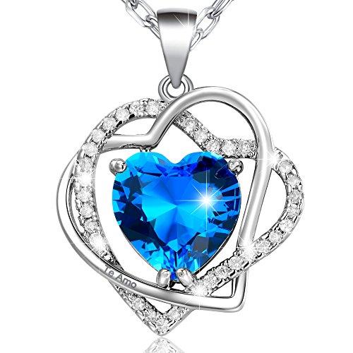 MARENJA-Regalos Navidad Collar Mujer de Moda-Colgante Doble Corazón Entrelazado con Cristal Azul de Corte Corazón Grabado Te Amo-Joya Chapada en Oro Blanco con Cristal