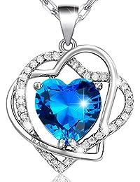 MARENJA-Regalo San Valentín Collar Mujer de Moda-Colgante Doble Corazón Entrelazado con Cristal Azul de Corte Corazón Grabado Te Amo-Joya Chapada en Oro Blanco con Cristal