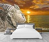 Fotomurales Decorativos Pared 3D Puesta de sol estatua de Buda en el mar Papel Pintado Great Art Póster Murales Foto Mural Pared Salón Dormitorio Despacho Decoració...
