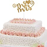 Imported Mr & Mrs Heart Wedding Paper Cake Topper Wedding Decor Accessories Gold