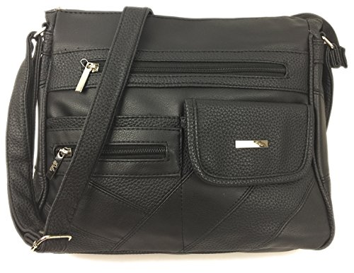 - 51y9N7lyXnL - Womens handbags PU Leather lightweight organiser bag ❤Sophia❤ with multi compartments, mini umbrella pocket & adjustable shoulder strap.