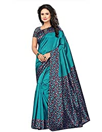 Kimisha Art Silk/Blended Mysore Silk Sky Blue Printed Women's Saree