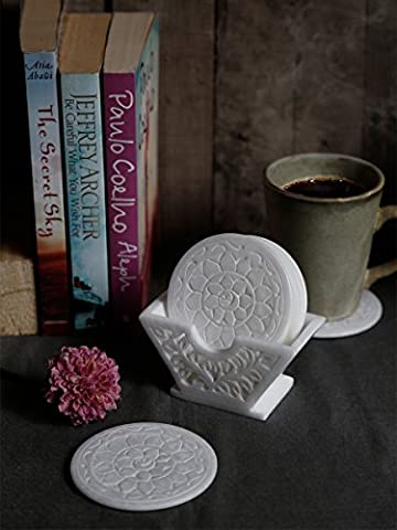 Store Indya Coaster Set of 6 Natural Handmade Soapstone Coaster with Floral-Themed Coaster Holder Fits drinking glasses of any size