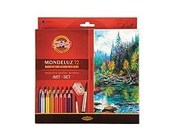 KOH I NOOR 3714 - 72 Mondeluz Künstler Aquarellstifte Set feinster Qualität und 2 Aquarellpinsel