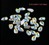 KCT 48 Pcs Water Diamond Shape Rhinestone Crystal AB Flatback Nail Art Decoration