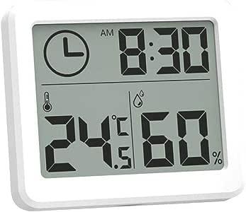 Lizefang Thermom/ètre Pratique Hygrom/ètre Horloge /Électronique De Surveillance De La Temp/érature Et De Lhumidit/é