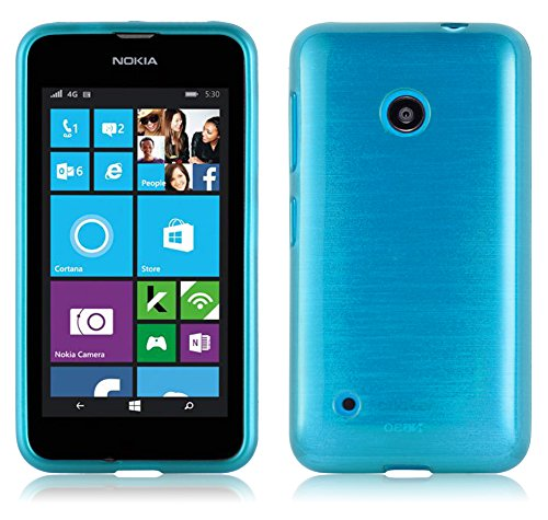 Handy Blau Lumia Case Nokia 530 (Nokia Lumia 530 Silikonhülle in TÜRKIS von Cadorabo - TPU Schutzhülle für Nokia Lumia 530 Edelstahloptik gebürstet BRUSHED Design – Handyhülle Bumper Case Backcover in TÜRKIS)