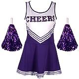 CWLN001a High School Musical Disfraz de animadora, uniforme de niña con pompones, tamaño M