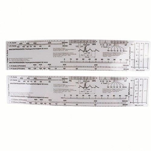 Scala di frequenza cardiaca del cardiografo elettrocardiogramma di misura del nastro del righello EKG ECG di 6pcs Earlywish