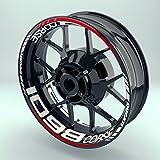 Felgenaufkleber Set Ducati 1098 corse für Motorrad   17 Zoll   Felgenrandaufkleber & Felgenbettaufkleber   Vorder- & Hinterreifen Komplett-Set (Doppelt - glänzend)