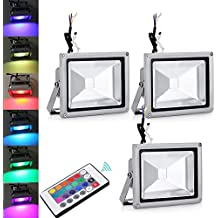 Pack of 3,20W RGB lámpara del proyector LED con cambio de color con control remoto