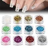 Nail Art Glitter Polvere Polvere Gel UV acrilico Paillettes Forma geometrica Decorazione Manicure Palette Kit FAI DA TE Accessori, 12 Scatole/Set