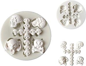 FEIDAjdzf Halloween Schädel Kopf DIY Mold Fondant Kuchen Sugarcraft Silikon Dekorieren Tool