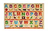 #9: BabyGo Wooden English Capital Alphabet Puzzle Tray with Picture Examples with Knobs (45cm x 30cm) (Multi Color)