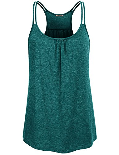 Hibelle Womens Tank Tops, Ladies Gym Athletic Clothing Cool Summer Casual Wear Racerback Yoga Shirt Dark Green Large
