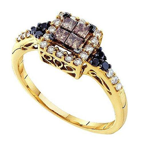 0,50Karat (ctw), 14K Gelb Gold Runde & Prinzessin Weiß, Cognac & Schwarz Diamant Rechten Hand Ring 1/2CT (Preiswerte Diamant-ringe)
