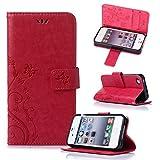 Beiuns Étui en Simili cuir pour Apple iPhone 4 4G 4S Housse Coque - R155 rouge