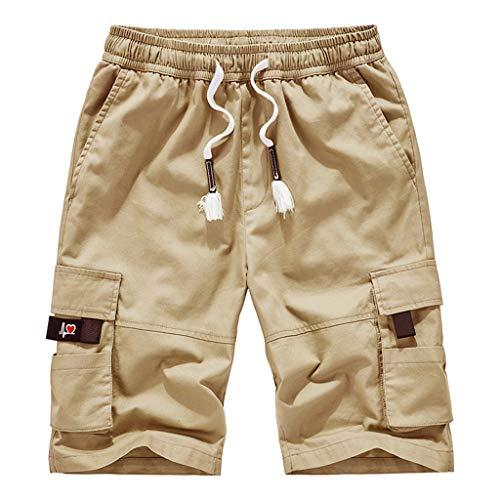 GreatestPAK Herren Outdoor-Hosen Freizeithosen Arbeitshosen elastische Taille Sommer Strand Baggy Shorts,Khaki,EU:M(Tag:4XL) Mac Cord