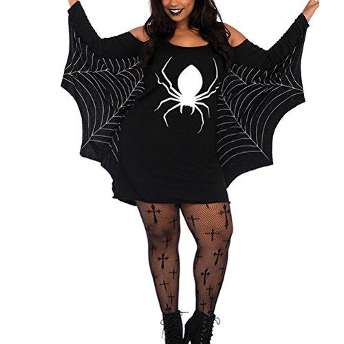 Damen Halloween Kostüm Spider Webbing Print Off Schulter Kleid (Damen Kostüme Spider)