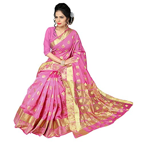 Manvaa Women's Banarasi Silk Saree With Blouse Piece (Srbs1114F_Pink)