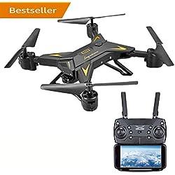 Drone Para Niños, AIR BASE FPV Wi-Fi Drone Con Cámara 720P HD, Duración De La Batería De 20 Minutos Alimentación De Video En Tiempo Real, Gran Dron Para Principiantes, Quadcopter Con Altitude Hold, Brazos Plegables (Negro)