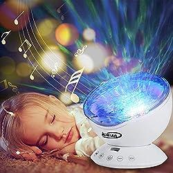 Lámpara Proyector , ikalula Remota del Océano Control de Proyector con control remoto 12 LED y 7 colores de lámpara de noche con mini reproductor de música incorporado para la sala de estar y el dormitorio.