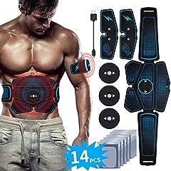 Idea Regalo - RIRGI Elettrostimolatore per Addominali, Elettrostimolatore Muscolare Professionale per Braccio/Gambe/Glutei, EMS con USB Ricaricabile, 6 modalità e 9 Livelli di Intensità(10PCS Ricambio Gel Pezzi)