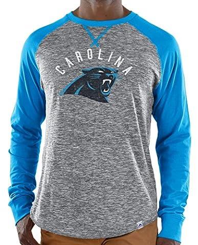 Carolina Panthers Majestic NFL Full Out Blitz Men's Long Sleeve Gray Slub shirt Chemise